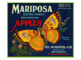 Mariposa Apple Label - San Francisco, CA Arte por  Lantern Press