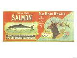 Elk Head Salmon Can Label - Fairhaven, WA Prints by  Lantern Press