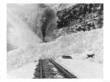 Avalanche of snow across railroad tracks Photograph - Alaska Prints by  Lantern Press