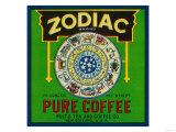 Zodiac Coffee Label - New Orleans, LA Prints by  Lantern Press