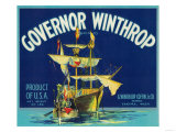 Governor Winthrop Apple Label - Yakima, WA Prints
