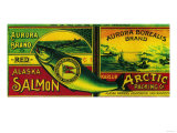 Aurora Borealis Salmon Can Label - Karluk, AK Prints by  Lantern Press