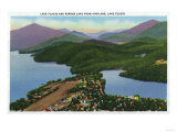 Adirondack Mts, New York - Aerial View of Lakes Placid and Mirror Prints by  Lantern Press
