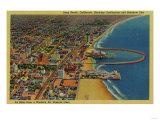 Auditorium, Beach, and Rainbow Pier - Long Beach, CA Prints