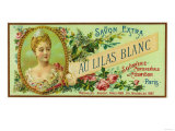 Au Lilas Blanc Soap Label - Paris, France Art