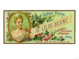 Au Lilas Blanc Soap Label - Paris, France Art
