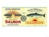Sun Salmon Can Label - Puget Sound, WA Art