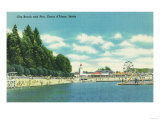 View of the City Beach and Pier - Coeur d'Alene, ID Art by  Lantern Press
