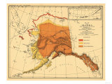 Alaska - Bear Population State Map Prints