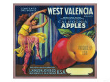 West Valencia Apple Crate Label - Watsonville, CA Prints by  Lantern Press