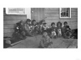 Eskimo Children and Puppies Photograph - Alaska Prints by  Lantern Press