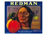 Redman Apple Label - Wenatchee, WA Prints by  Lantern Press