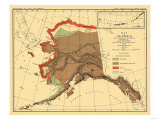 Alaska - Fox Population State Map Prints by  Lantern Press