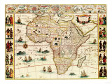 Africa - Panoramic Map - Africa Prints by  Lantern Press