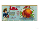 Alta Peach Label - San Francisco, CA Prints by  Lantern Press