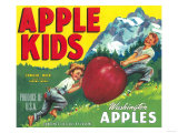 Apple Kids Apple Label - Yakima, WA Prints by  Lantern Press
