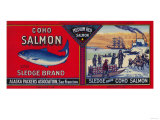 Sledge Salmon Can Label - San Francisco, CA Affiches