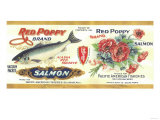 Red Poppy Salmon Can Label - Bellingham, WA Prints by  Lantern Press