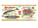 Red Poppy Salmon Can Label - Bellingham, WA Prints