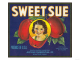 Sweet Sue Apple Label - Wenatchee, WA Art