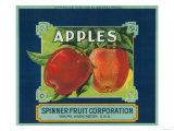 Spinner Fruit Apple Label - Yakima, WA Art by  Lantern Press