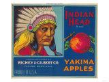 Indian Head Apple Label - Yakima, WA Prints