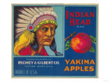 Indian Head Apple Label - Yakima, WA Prints by  Lantern Press