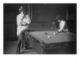 Woman Playing Billiards Photograph Prints by  Lantern Press