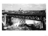 Aerial View of Spokane Falls and Monroe St Bridge No. 2 - Spokane, WA Prints by  Lantern Press