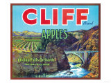 Cliff Apple Label - Chelan Falls, WA Prints by  Lantern Press