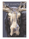 New Hampshire - Moose Up Close Art by  Lantern Press