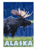 Alaska - Moonlight Moose Art by  Lantern Press