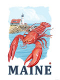 Portland, Maine - Lobster and Portland Lighthouse Scene Prints by  Lantern Press
