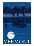 Vermont - Bear in the Moonlight Poster by  Lantern Press