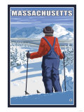 Massachusetts - Skier Admiring View Prints