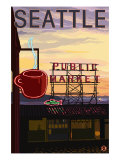 Seattle, Washington - Pike Place Market Sign and Water View Prints