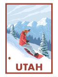 Snowboarder Scene - Utah Prints by  Lantern Press