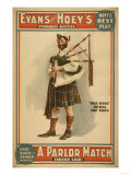 "A parlor Match ""Old Hoss"" Scottish Bagpiper Poster Prints"