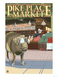 Seattle, Washington - Fish Toss and Bronze Pig at Pike Place Prints by  Lantern Press