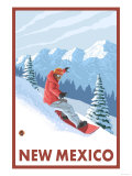 Snowboarder Scene - New Mexico Prints by  Lantern Press
