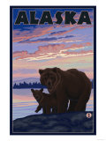 Alaska - Bear and Cub Prints by  Lantern Press