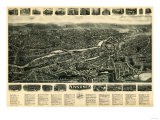 Ansonia, Connecticut - Panoramic Map - Ansonia, CT Prints by  Lantern Press