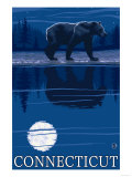 Connecticut - Bear in the Moonlight Prints by  Lantern Press