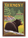 Vermont - Black Bear in Forest Poster by  Lantern Press