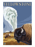 Yellowstone - Bison with Old Faithful Prints by  Lantern Press