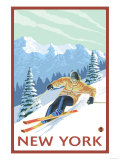 New York - Downhill Skier Scene Prints