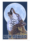 Gray Wolf Howling - New Mexico Prints by  Lantern Press