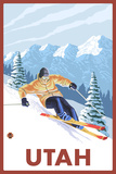 Downhill Snow Skier - Utah Prints by  Lantern Press