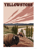 Yellowstone - Bison Scene Prints by  Lantern Press