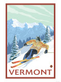 Vermont - Downhill Skier Scene Art by  Lantern Press